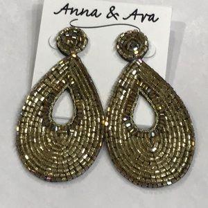 Anna & Ava Golden Beads Teardrop Earrings